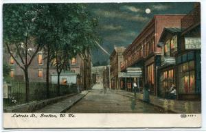 Latrobe Street Scene Night Grafton West Virginia 1908 postcard