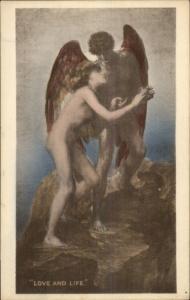 Nude Angel Man & Woman - LOVE & LIFE GF Watts c1910 Postcard