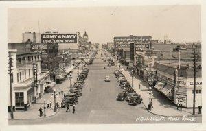 RP; MOOSE JAW, Saskatchewan , Canada, PU-1949; Main Street, Hotel , Cafe