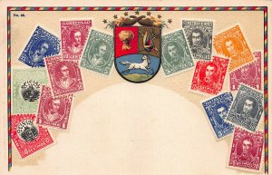 Venezuela Stamps on Early Embossed Postcard, Unused, Published by Ottmar Zieher