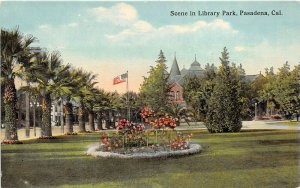 Pasadena California c1910 Postcard Scene In Library Park