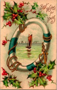 Vtg Postcard Embssed Life Preserver Holly Boat Best Wishes For Chirstmas UNP