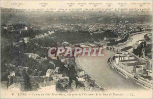 Old Postcard Lyon Panorama Cote Nord West shooting the Lift Tower of Fourviere