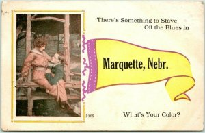 MARQUETTE, Nebraska Pennant Greetings Postcard Romance / Comic - 1914 Cancel