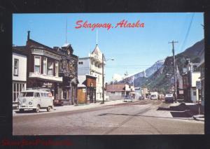 SKAGWAY ALASKA DOWNTOWN MAIN STREET SCENE VOLKSWAGEN BUS VINTAGE POSTCARD