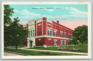 Cantralia Illinois~Masonic Temple~Front Entrance~Garden~c1920 Postcard