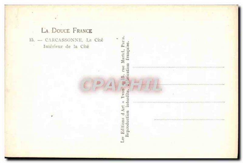 Old Postcard Carcassonne La Cite de la Cite Interior