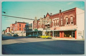 Bluffton Indiana~Business District~Hwy Signs~Clothing TV Stores~Cars~1970s