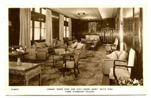 Cunard White Star Line - RMS Queen Mary,  Cabin Starboard Gallery  *RPPC