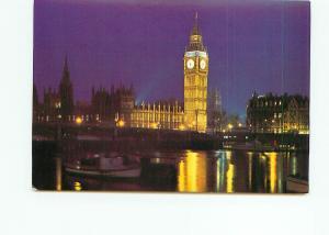 Postcard England Great Britain Big Ben Parliament at Night Scene  # 4885A