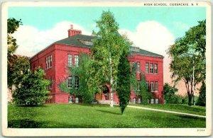 COXSACKIE, New York Postcard HIGH SCHOOL Building View Curteich Dated 1938