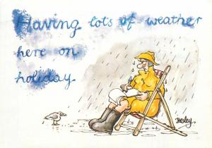 Having lots of weather here on holiday comic signed Besley postcard