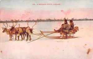 Norway Old Vintage Antique Post Card Reindeer Outfit Lapland Unused