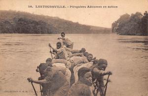 Gabon Lastoursville, Piroguiers Adoumas en action, canoe, pirogue