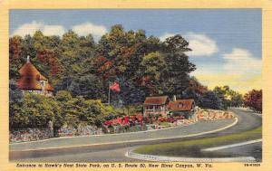 New River Canyon West Virginia~Hawk's Nest State Park Entrance~1940s Postcard