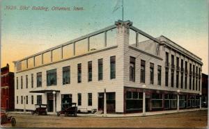 Ottumwa Iowa~Elks' Building See-Through Roof-Line~Stander's Balconies~1914 PC