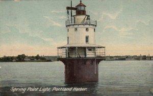 PORTLAND , Maine , 1900-10s ; Spring Point Lighthouse , Closeup