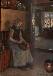 Native Woman Costume Using Coffee Grinder? Copper Pots c1910 Postcard