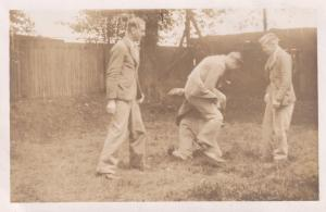 Men Fighting Boxing In Garden Knockout Old Signed Real Photo Norfolk Postcard