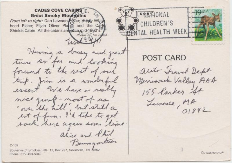 CADES COVE CABINS, Great Smoky Mountains, USA, 1991 used Postcard