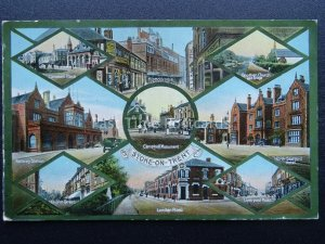 Staffordshire STOKE ON TRENT 9 Image Multiview Old Postcard by W Shaw of Burslem