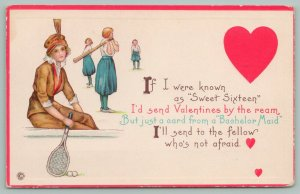 Valentine's Day~Sports Minded Lady Considers Sending Card~Racket~Balls~Stetcher