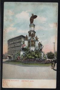 Detroit MI Soldiers Monument 1911 used colour PC