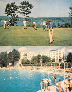 KIAMESHA LAKE, NY New York  CONCORD HOTEL Golfing & Swimming Pool  TWO Postcards