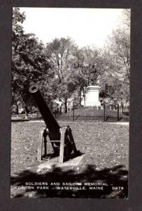 ME Coburn Park Soldiers Monument Gun WATERVILLE MAINE Real Photo RPPC Postcard