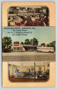 Lebanon MO~Union Depot~Greyhound Bus~Inside Diner~Gift Shop~ART DECO~c1950 Linen