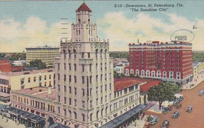 Florida St Petersburg Downtown Business District 1954 Curteich