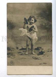 187098 NUDE Kid Child  Musician Cymbal Vintage PHOTO PC