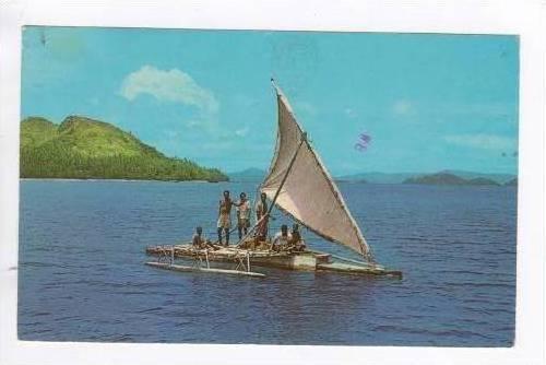 FIJI, 40-60s, Fijian Outrigger canoe/sail boat
