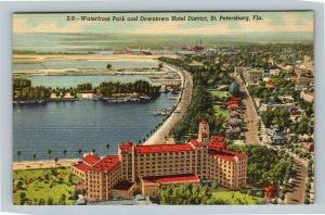St Petersburg FL, Waterfront Park Downtown Hotel District Linen Florida Postcard
