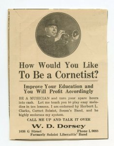 Like To Be A Cornetist? W. D. Dorsey Vintage Paper Advertisement