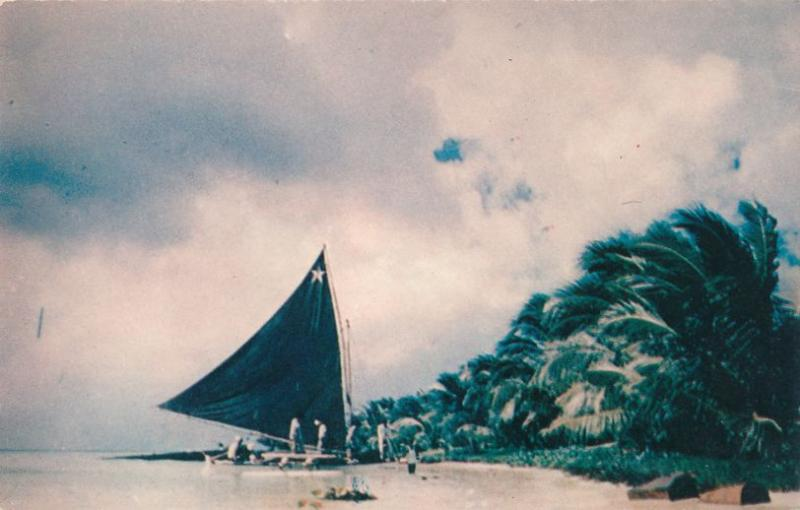 Sailing Canoe on Truk Atoll Chuuk Micronesia Formerly Trust Territory of Pacific