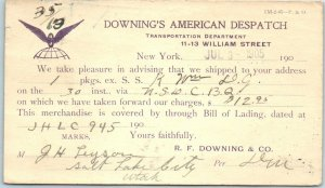 1905 NYC Business Postcard DOWNING'S AMERICAN DISPATCH Shipping Notification