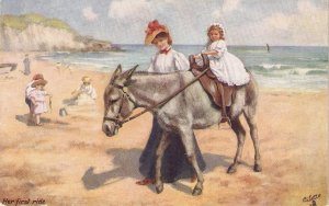 Children in Horses. Her first ridt Tuck Oilette FDun on the Sands Ser. PC 9466