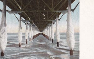 OLD ORCHARD, Maine, 1900-1910's; Under The Pier In January