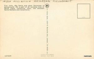 Amusement 1960s Miniature Railroad Train Santa Highway 101 Gillco postcard 9584