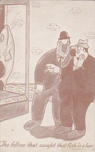 Arcade Card Two Men At Fish Market