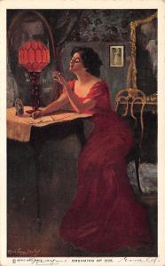 Alfred James Dewey~Dreaming of Him~Lovely Lady in Red Gown~Rose Lamp Light~1911