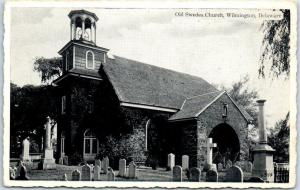 Wilmington, Delaware Postcard Old Swedes Church Cemetery Gravestones c1940s