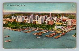 Miami FL-Florida, Aerial View Hotels,Yachts, Bayfront Park, Linen c1954 Postcard