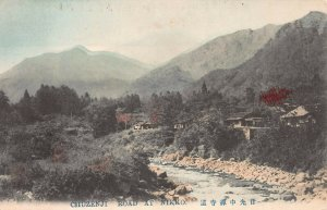 Chuzenji Road at Nikko, Japan, Early Hand Colored Postcard, Unused