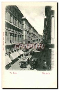 italy italia Genova Old Postcard Via Roma tram