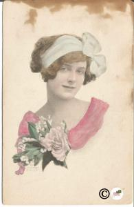 Vintage Postcard Beautiful Woman with Headband and Bouquet of Roses Pastels