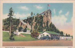 Michigan St Ignace Castle Rock 1936 Curteich