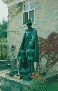 Statue of Lincoln and Nude Boy - Bennington VT, Vermont - Roadside