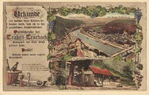 Germany - Urkunde Traben Trarbach mit Ruine Grafinburg - Rare Postcard - 03.64